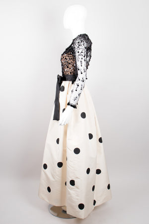 Givenchy Vintage Lace Taffeta Dot Gown