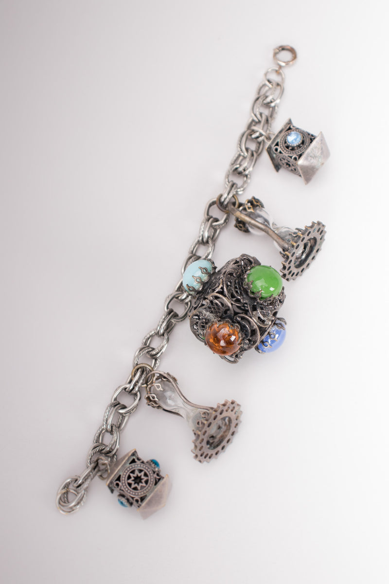 Vintage Pewter Mystical Sands of Time Hourglass Charm Bracelet