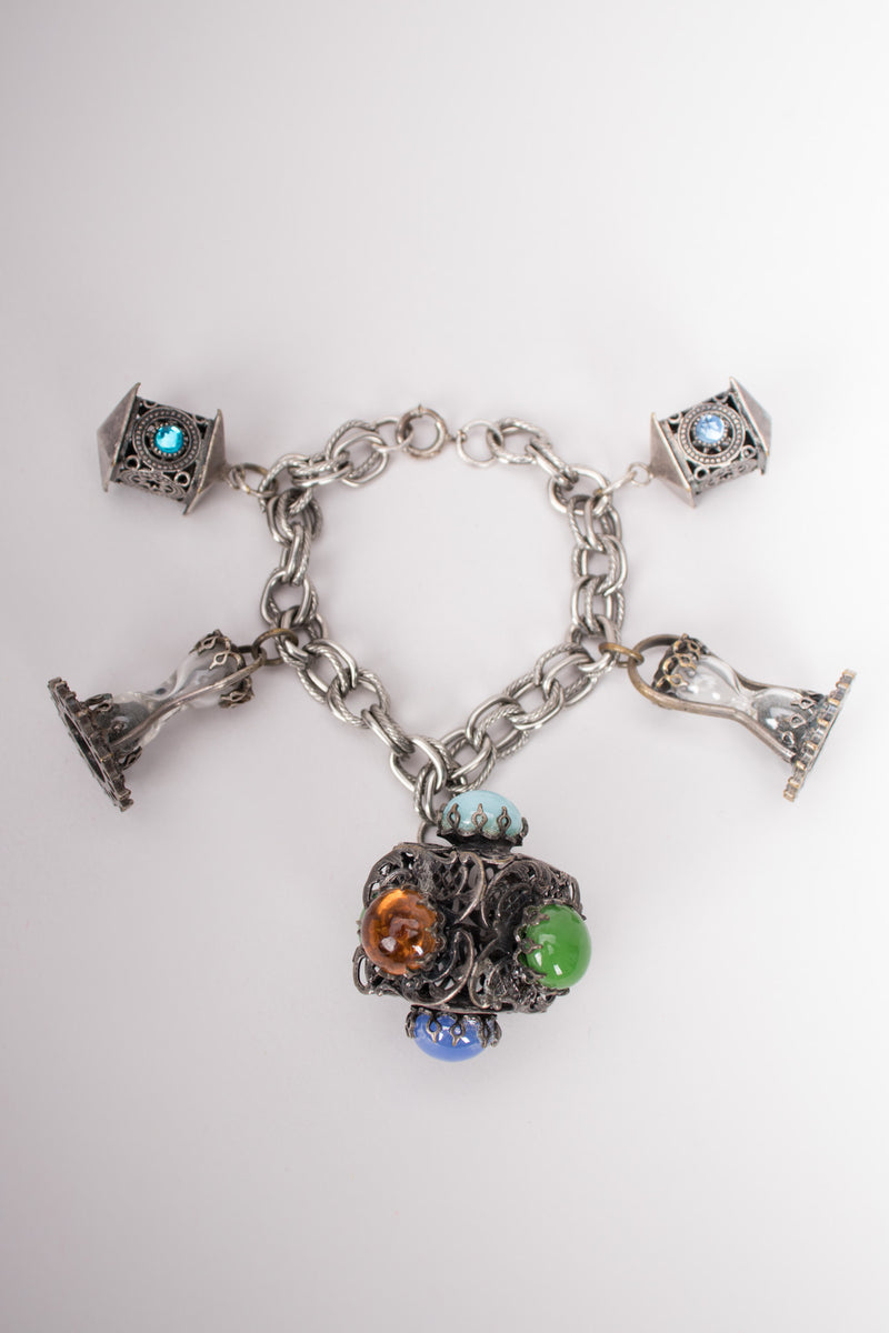Vintage Pewter Moroccan Sands of Time Hourglass Charm Bracelet