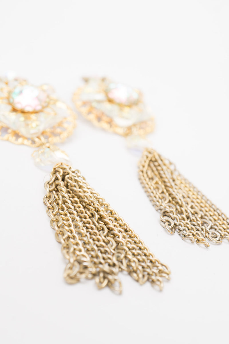 Vintage Unsigned AB Crystal Filigree Tassel Earrings