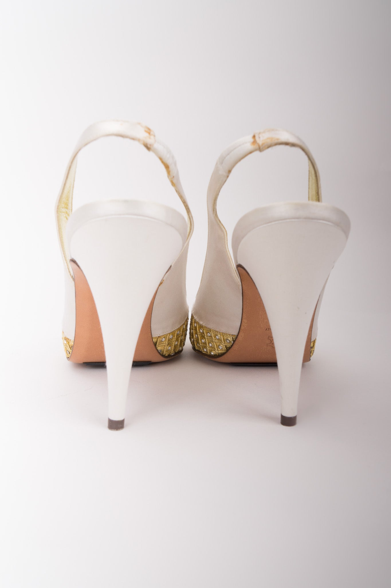 Giorgio Beverly Hills Old Hollywood Crystal Lamé Slingback Heels