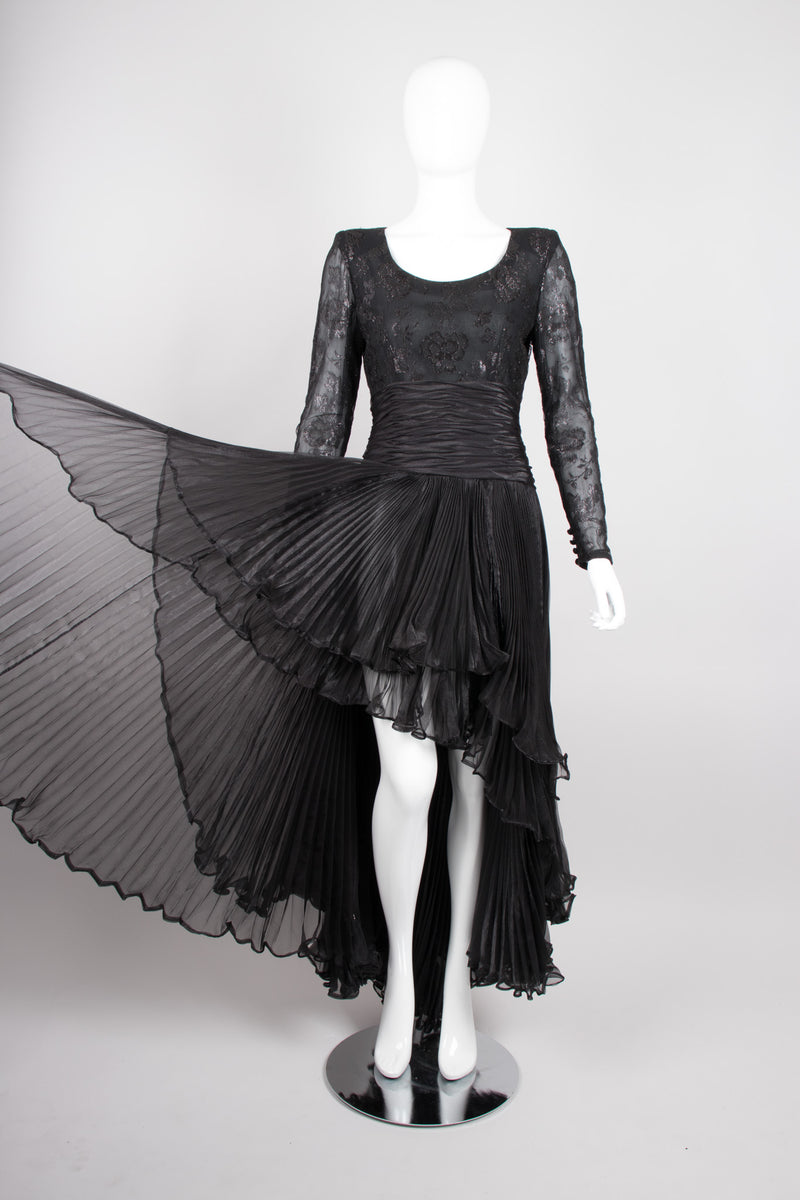 Jean Louis Scherrer Lace Pleated Chiffon Waterfall Gown