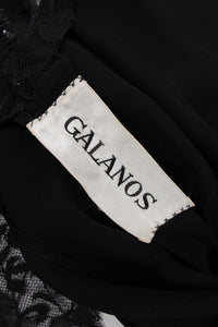 Galanos Vintage Crystal Jeweled Lace Mesh Illusion Dress
