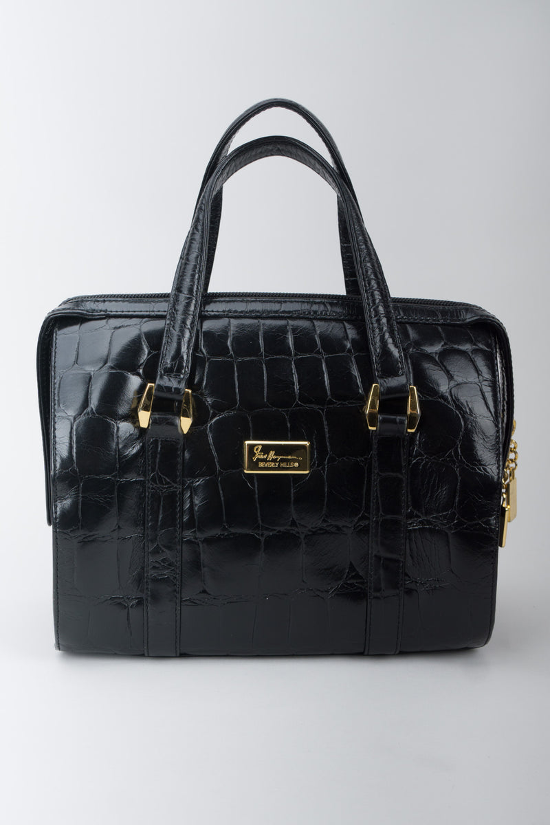 Fred Hayman Croc Embossed Leather Satchel Handbag