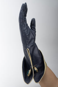Isabel Canovas Metallic Lamé Cuffed Gauntlet Gloves