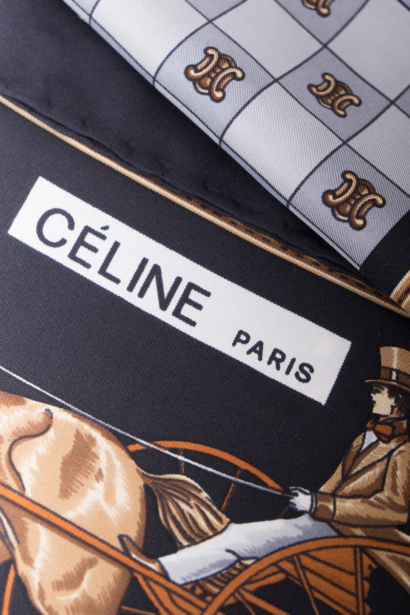 Celine Chess & Horse Carriage Key Watch Fob Scarf