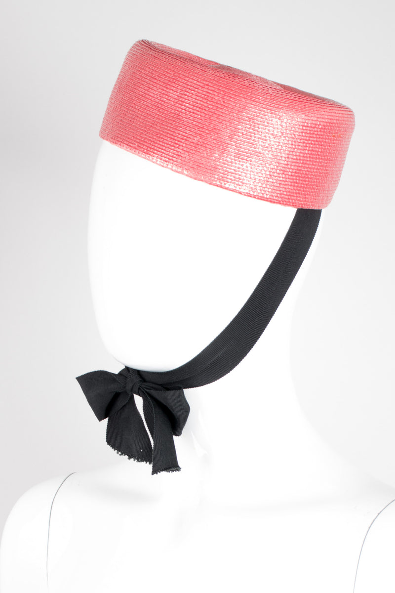 Yves Saint Laurent YSL Straw Ribbon Tie Jackie O Pillbox Hat
