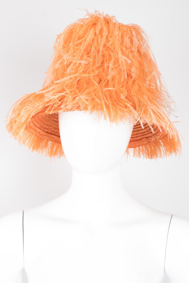 Happy Capper Ostrich Feather Straw Bucket Hat