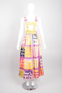 Royal Robe Bill Tice Suspender Skirt in Vintage Print by Gloria Vanderbilt