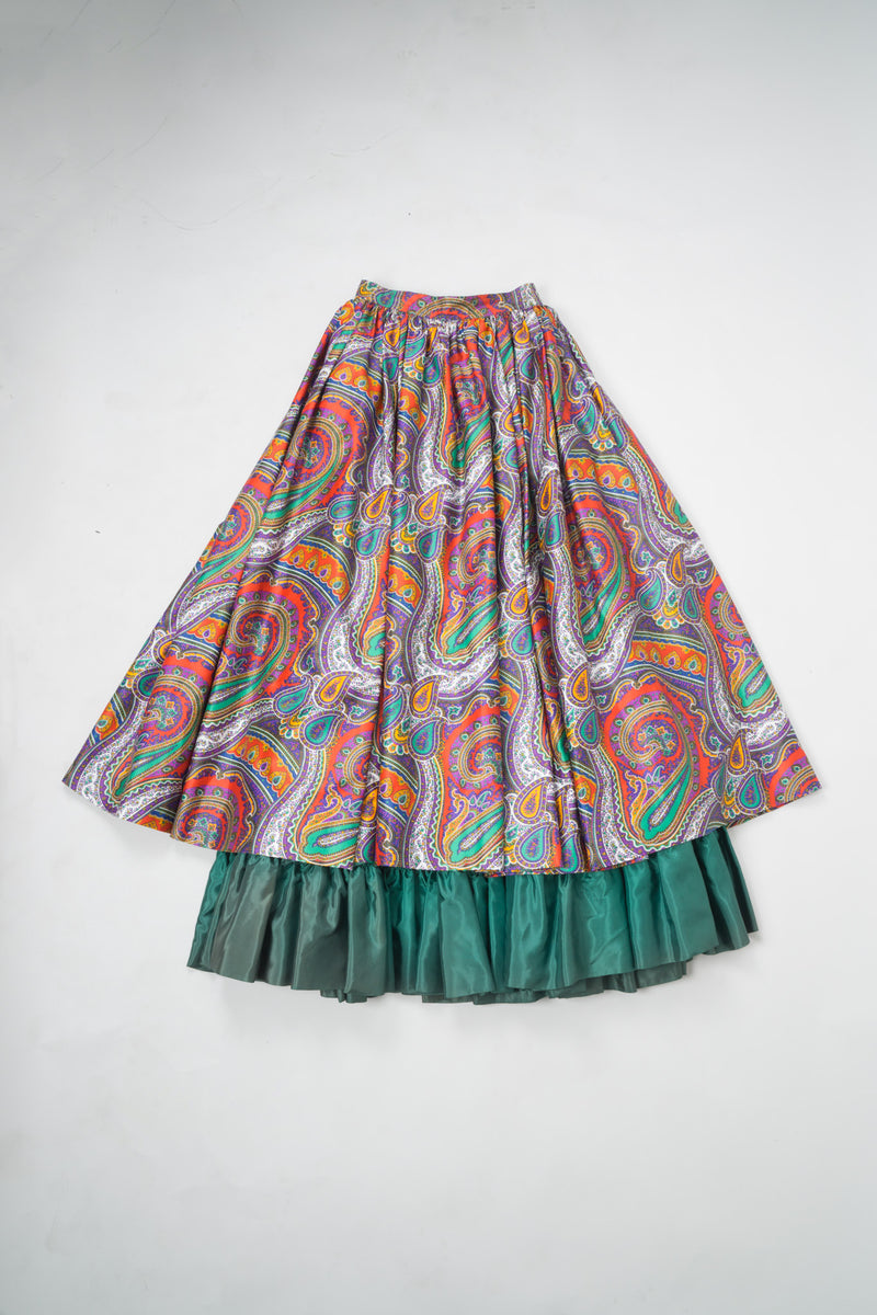YSL Yves Saint Laurent Paisley Layered Skirt