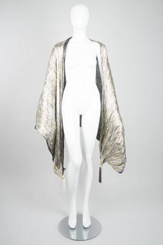 Vintage Metallic Lamé Tassel Scarf Formal Wrap Bikini Cover Up