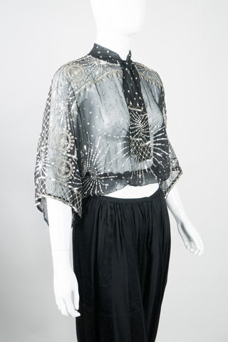 Lillie Rubin Sheer Chiffon Sequin Sunburst Top