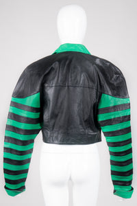 Phillip Noel Beetlejuice Cropped Stripe Leather Jacket