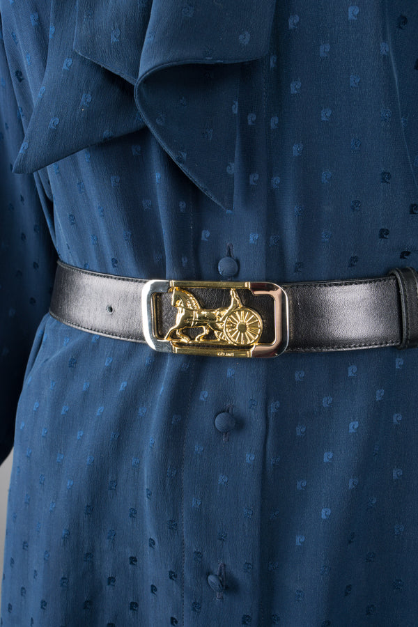 Celine Leather Horse Carriage Buckle Belt
