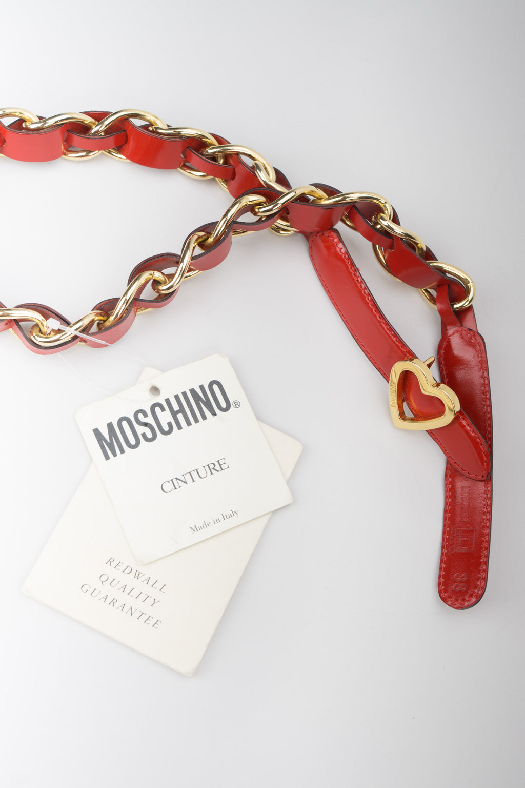 Moschino Cherry Red Patent Leather Braid Heart Chain Belt