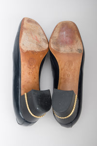 Gucci Vintage Gold Braid Heeled Loafers