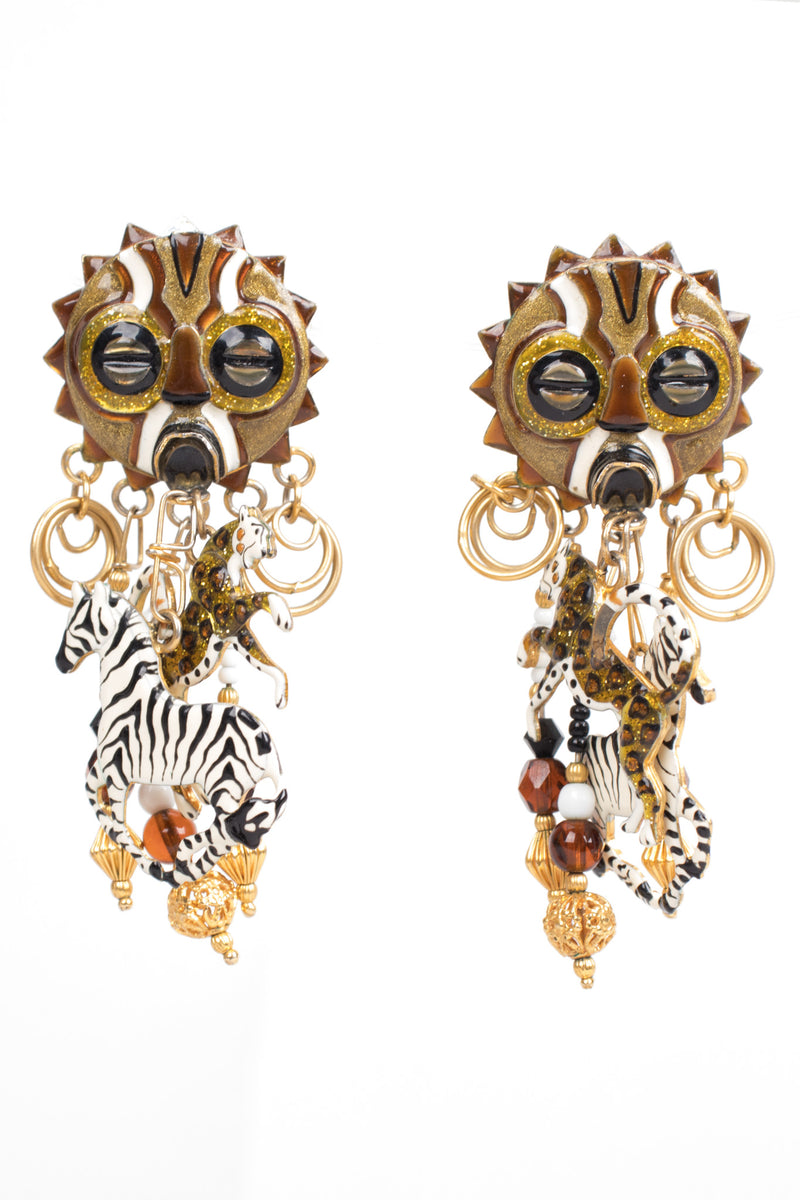 Lunch At The Ritz African Safari Animal Zebra Leopard Earring