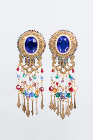 Rainbow Filigree Bead Fringe Statement Earring