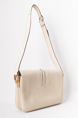 Gucci Topstitched Turnlock Bone Leather Shoulder Bag