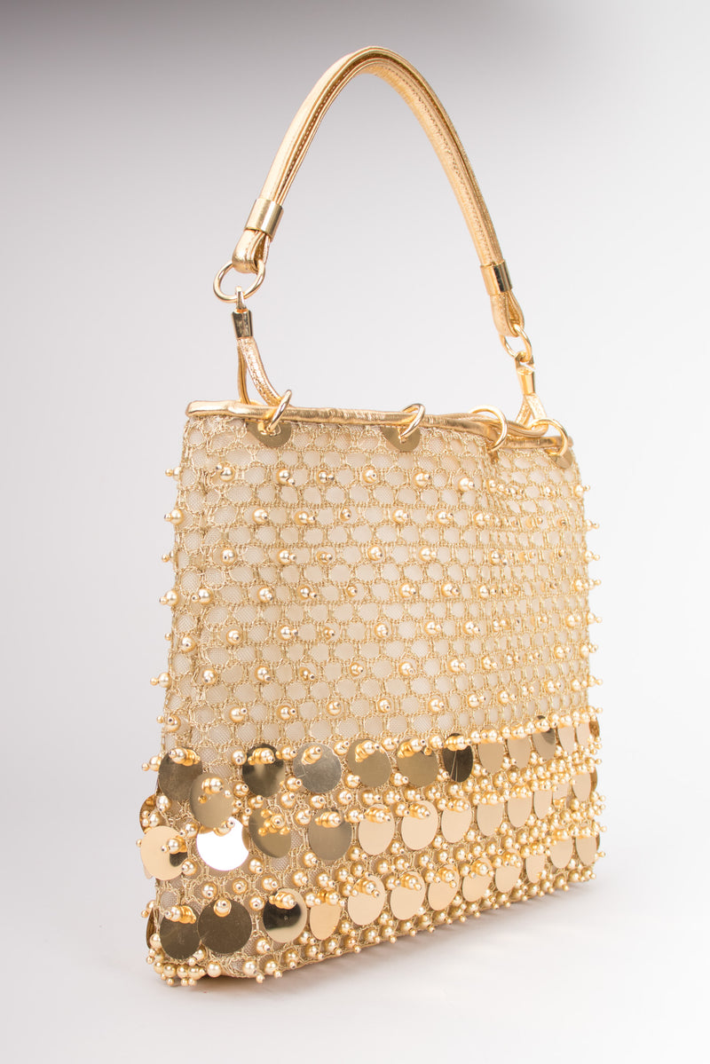 Rodo Vintage Beaded Paillette Mesh Handbag Purse