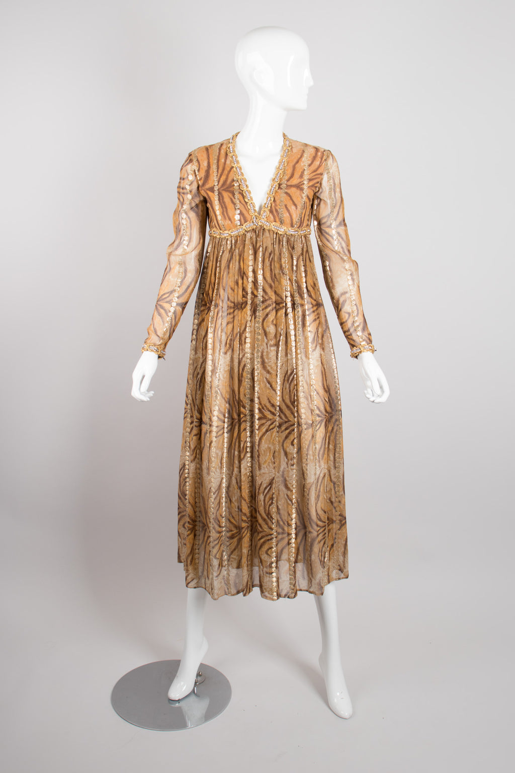 Bill Blass Silk Chiffon Empire Waist Tiger Lamé Dress 00ad6a166