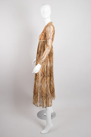 Bill Blass Silk Chiffon Empire Waist Tiger Lamé Dress