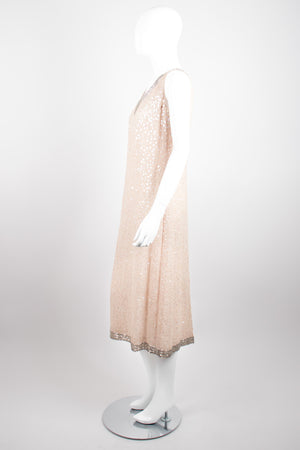 Mr. Blackwell Vintage Sheer Sequined Chiffon Nude Naked Dress