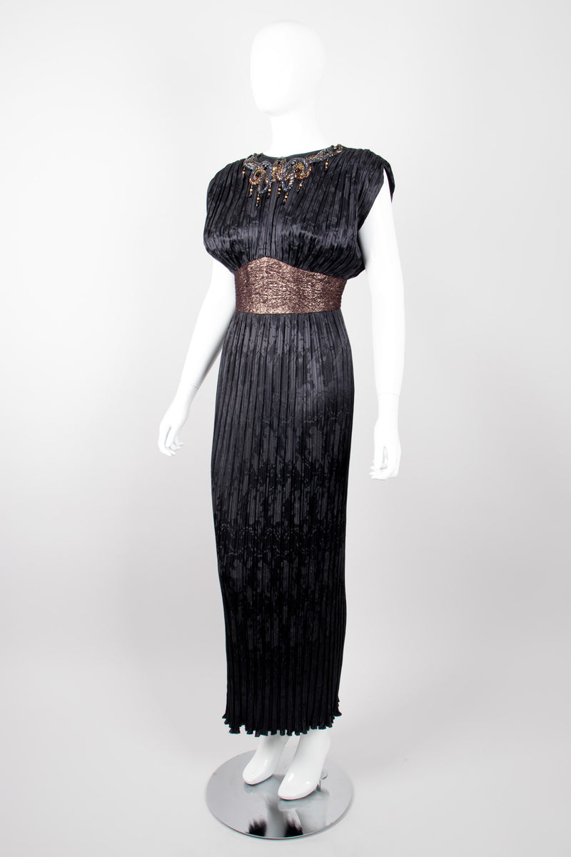Michael Casey Pleated Art Deco Titanic Gatsby Column Dress