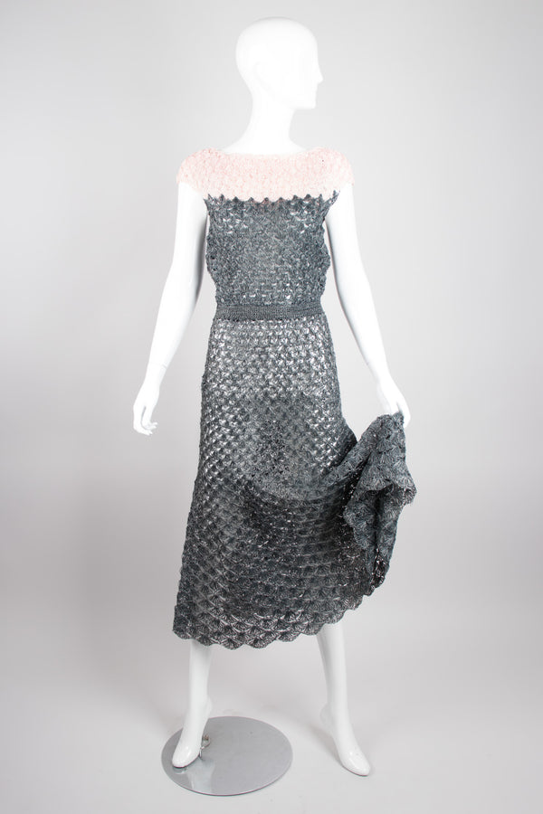 Vintage Crochet Mesh Raffia Colorblock Dress