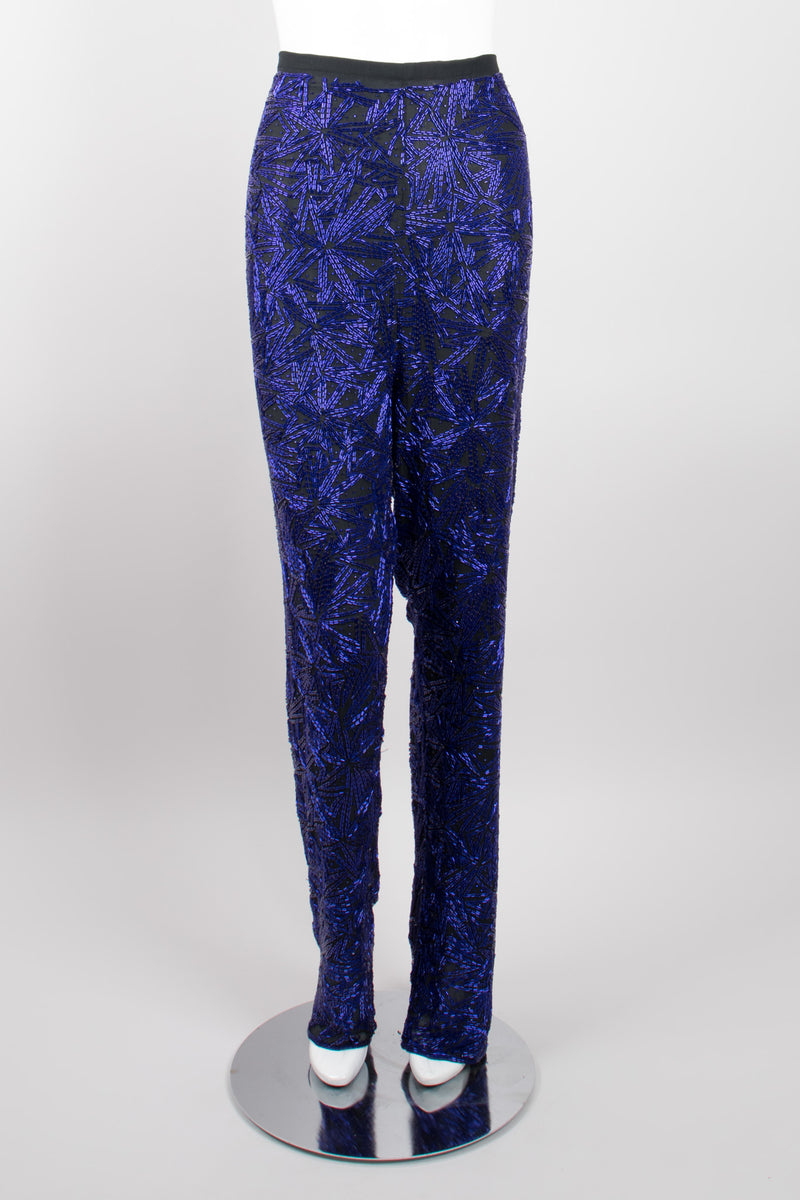 Riazee Midnight Cobalt Beaded Silk Tank & Pant Set