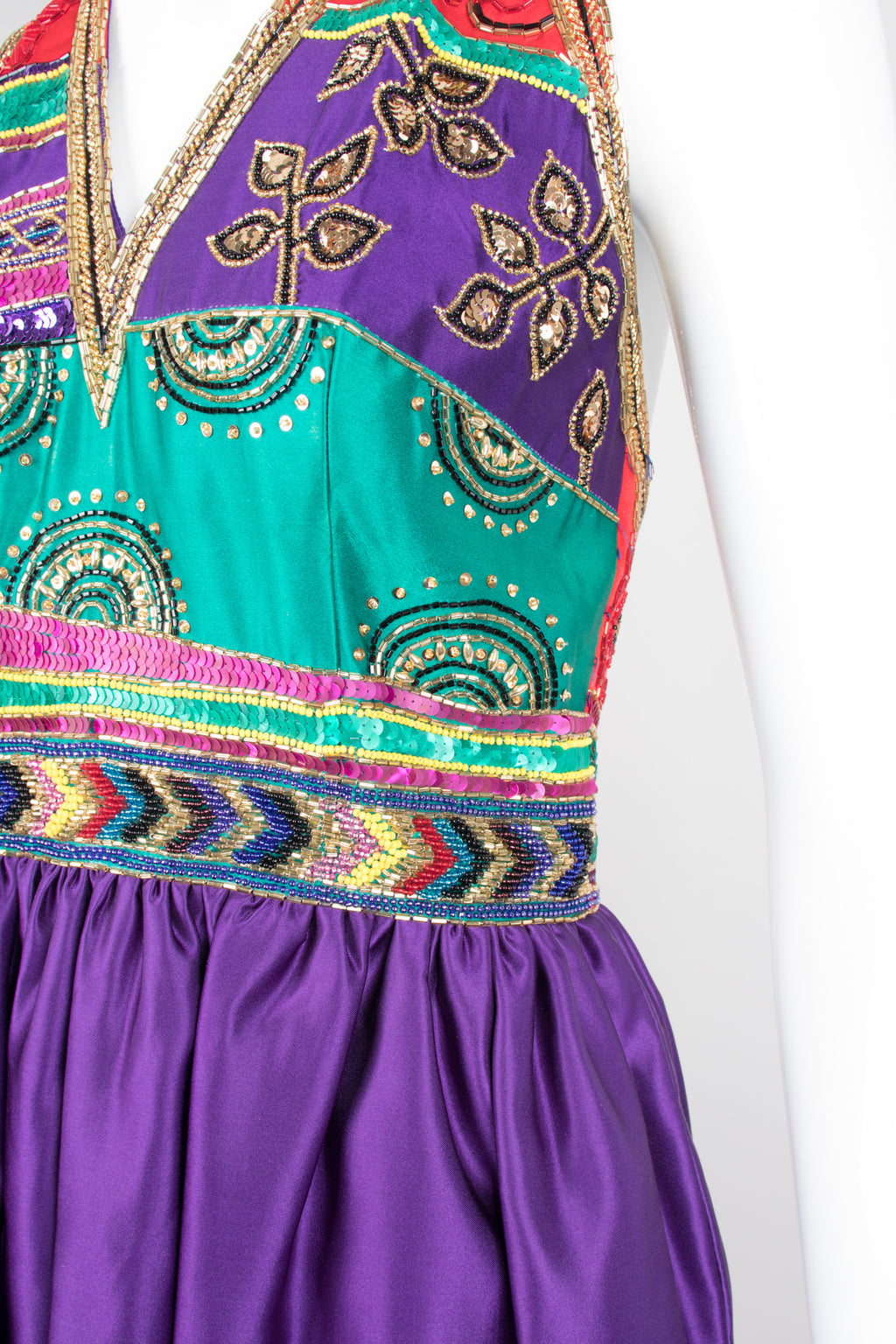 Victoria Royal Jewel Tone Embellished Indian Sari Halter Dress