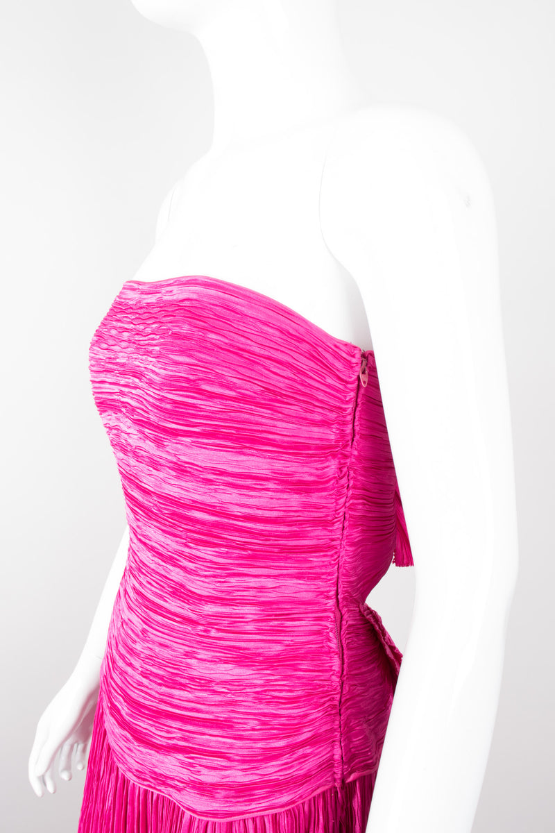 Mary McFadden Hot Pink Strapless Bow Back Pleated Gown