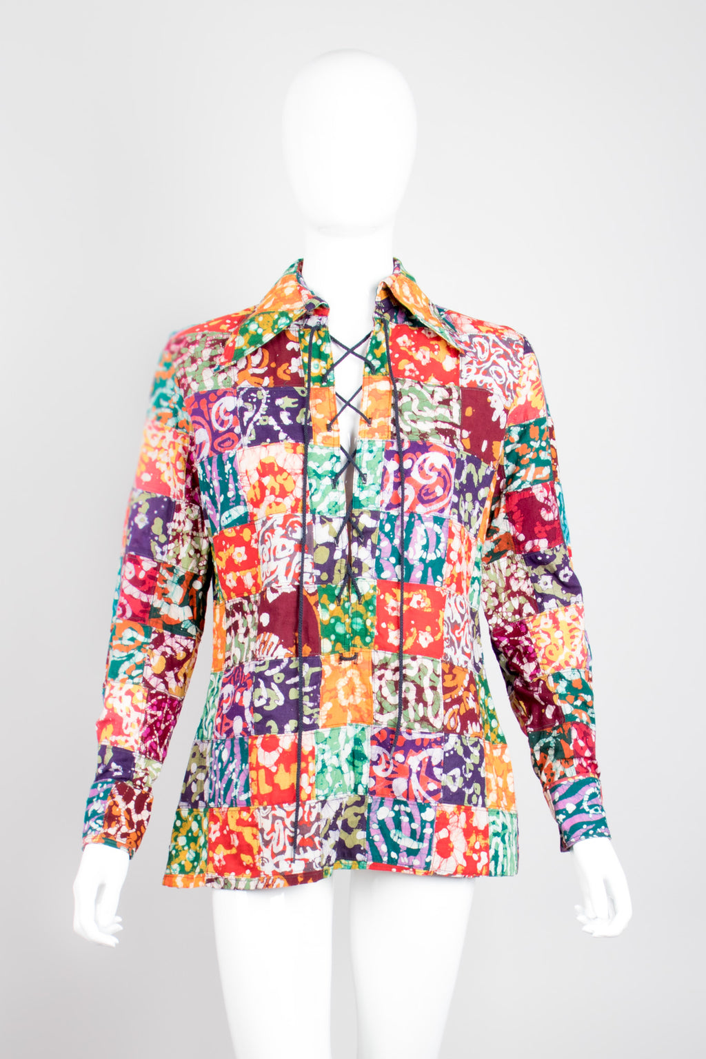 Joseph Magnin Vintage Lace Up Patchwork Batik Shirt