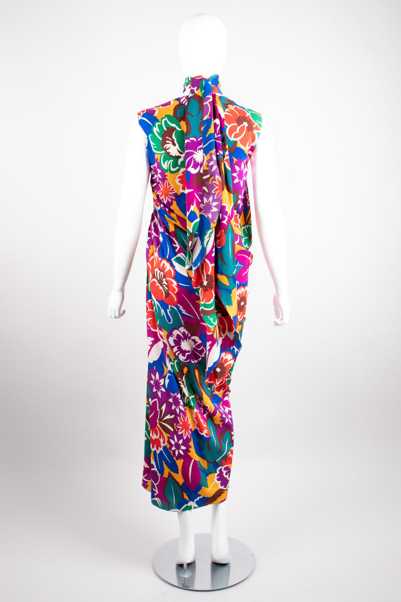 Oscar de la Renta Tropical Floral Print Silk Bias Dress