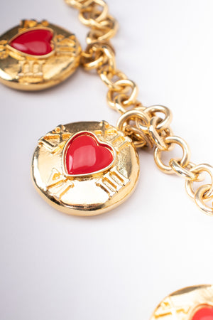 Escada Wonderland White Rabbit Pocketwatch Hearts Charm Necklace