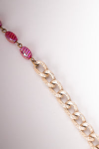 Hobe Vintage pink Iridescent Candy Bead Waterfall Necklace