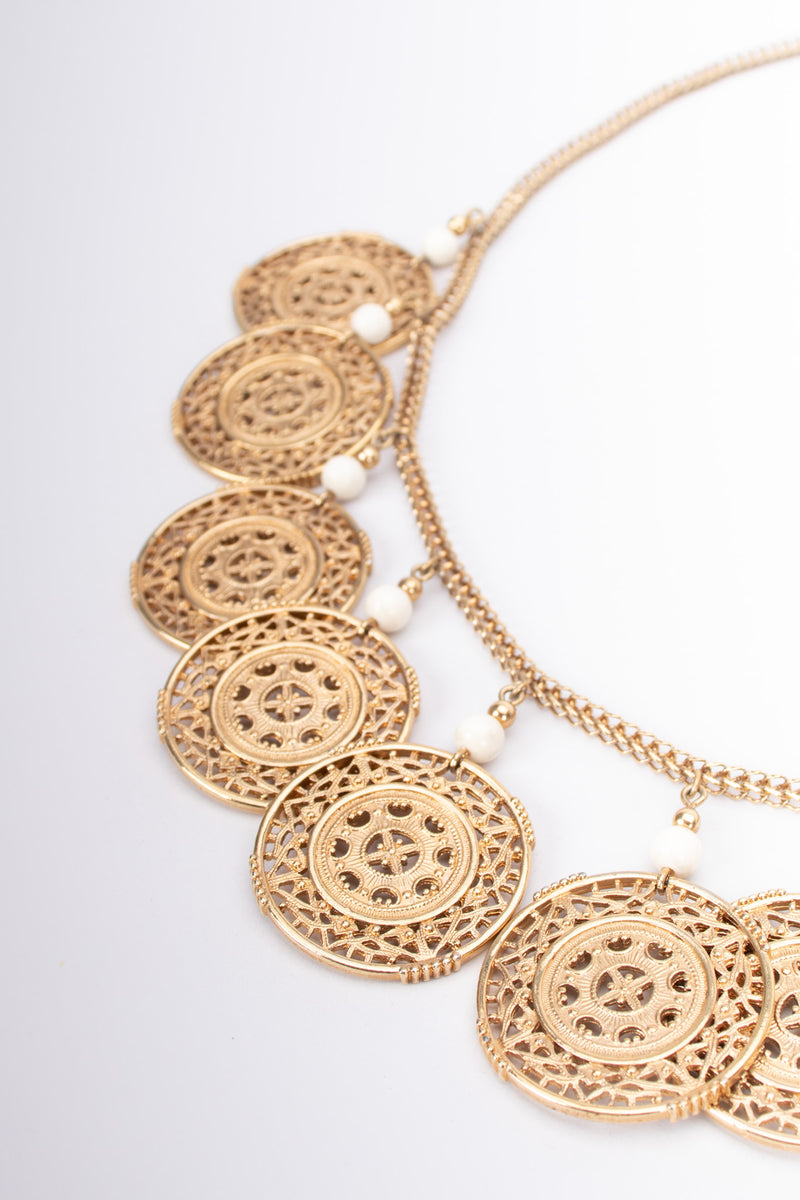 Monet Etruscan Filigree Medallion Necklace