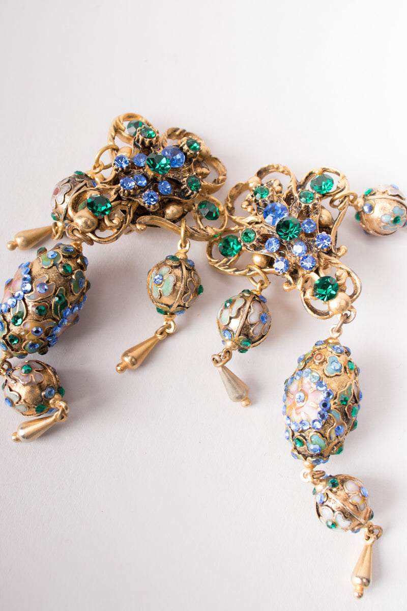 Cloisonne Faberge Jeweled Egg Chandelier Earrings