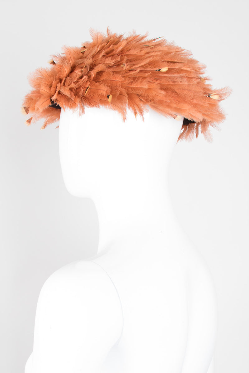 Deena Feather Mushroom Vintage Hat Fascinator Beret