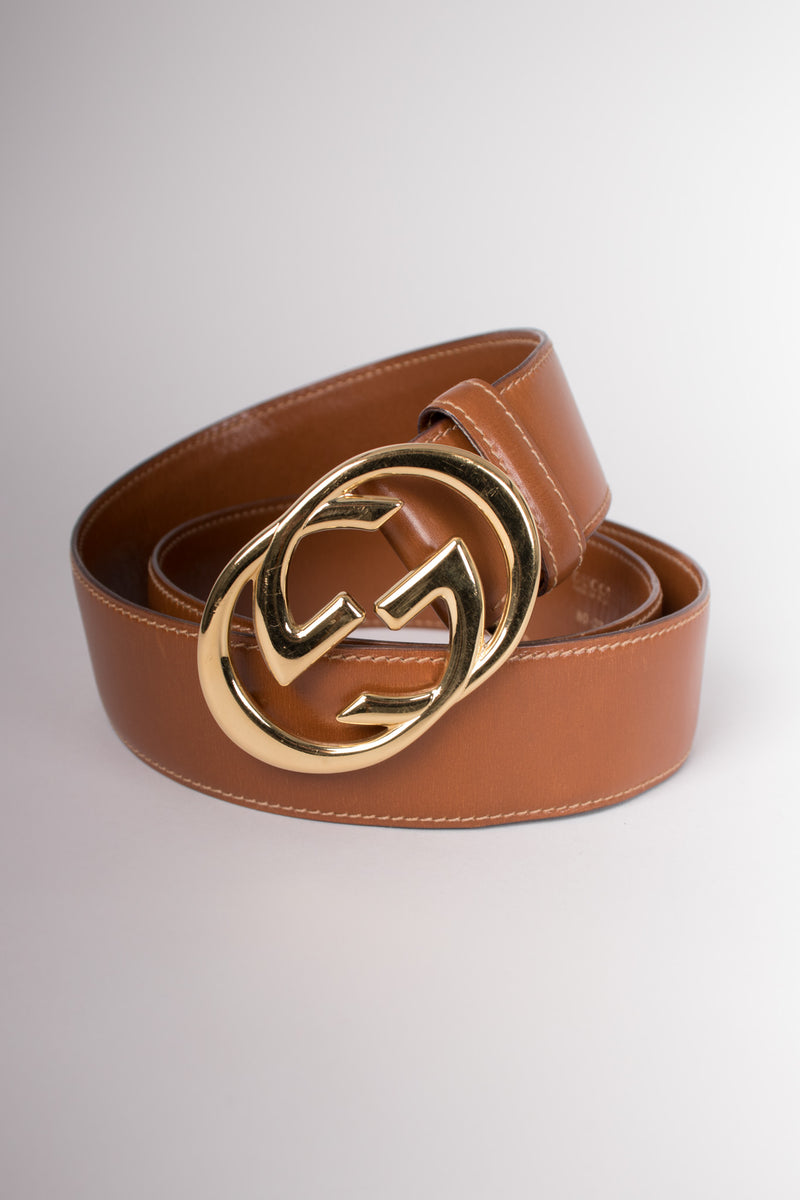Gucci Vintage 80s Interlocking GG Buckle Leather Belt