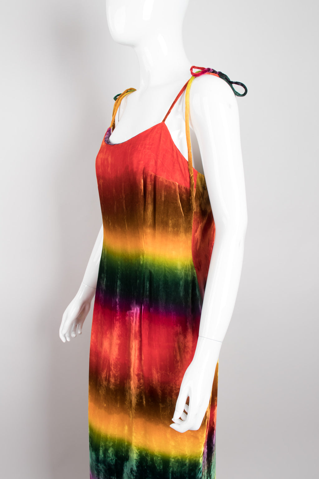 Recess Los Angeles Vintage Todd Oldham Velvet Rainbow Snow Cone Slip Dress