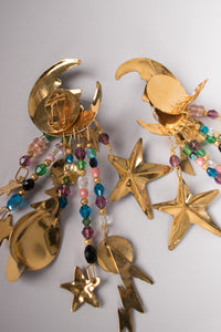 Lunch At The Ritz 1989 Celestial Galaxy Chandelier Earrings