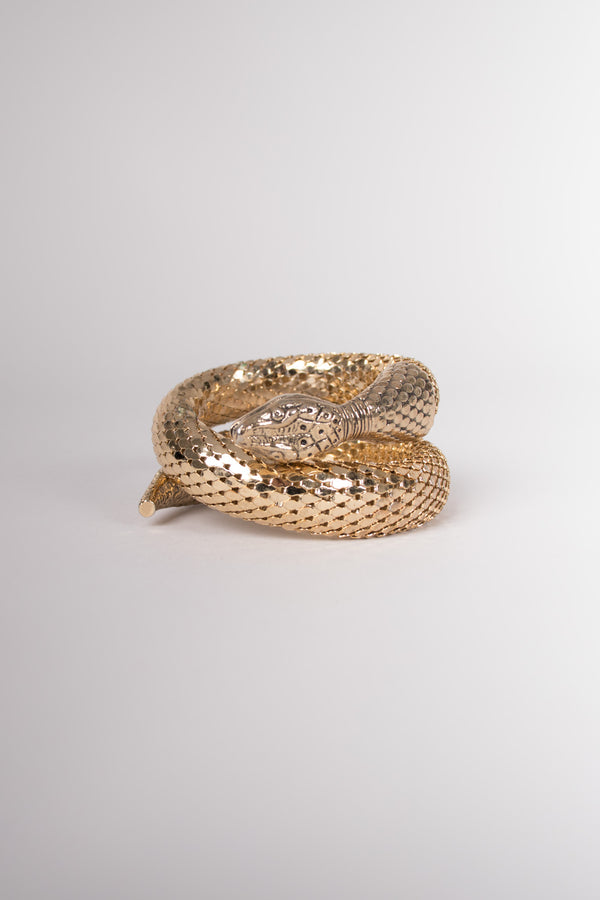 Whiting & Davis Single Coil Gold Snake Wrap Bracelet