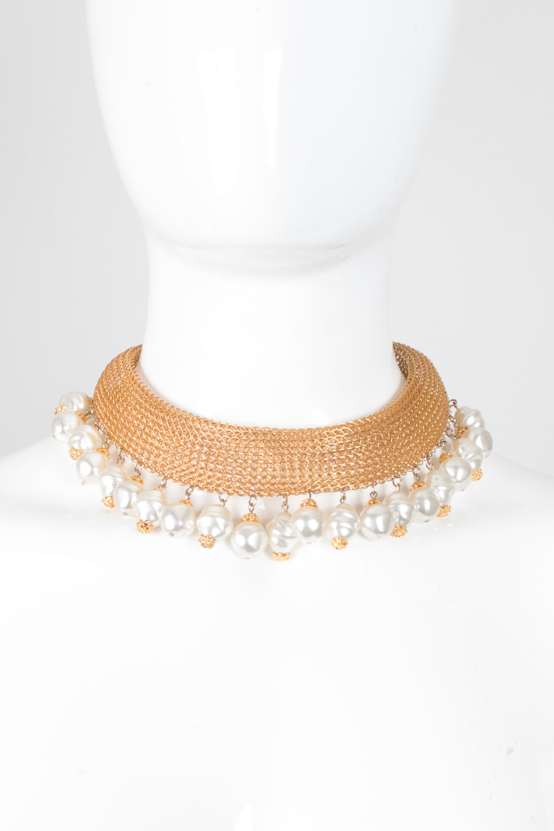 Unsigned Faux Freshwater Pearl Mesh Collar Choker Necklace