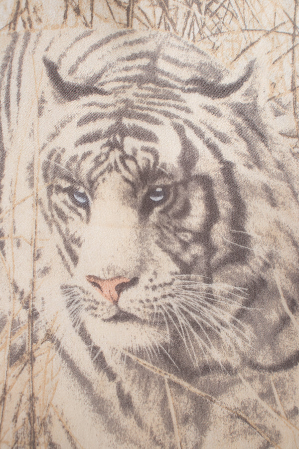 Escada White Tiger Silk Short Sleeve Tee