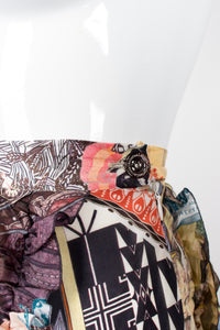 Christian Lacroix Floral Collage Print Asymmetrical Ruffle Skirt