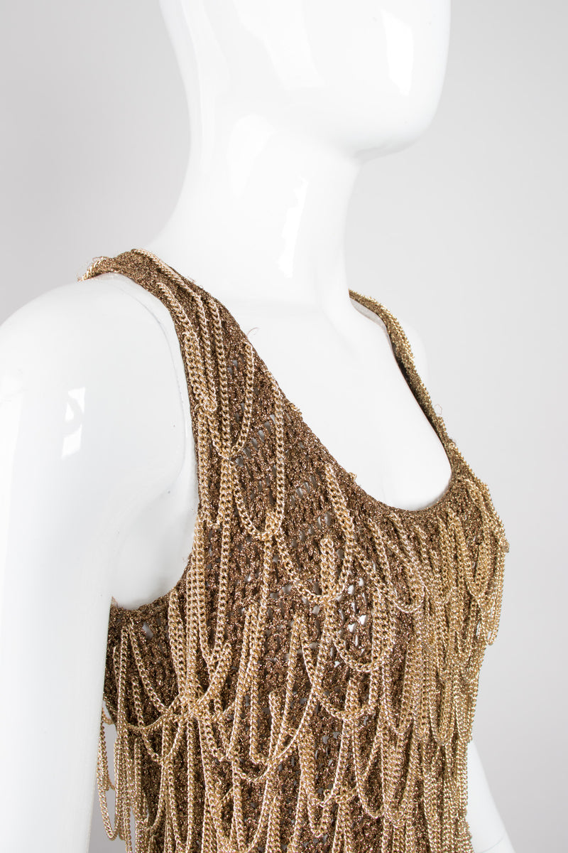 Salvatore Ferragamo Gold Crochet Draped Chain Tank