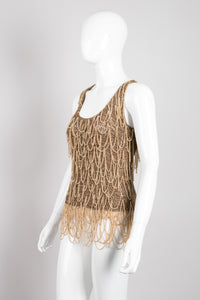 Salvatore Ferragamo Gold Armor Draped Chain Crochet Tank