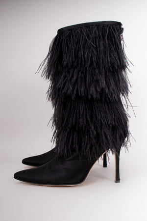 Manolo Blahnik Rockerstar Ostrich Feather Boots