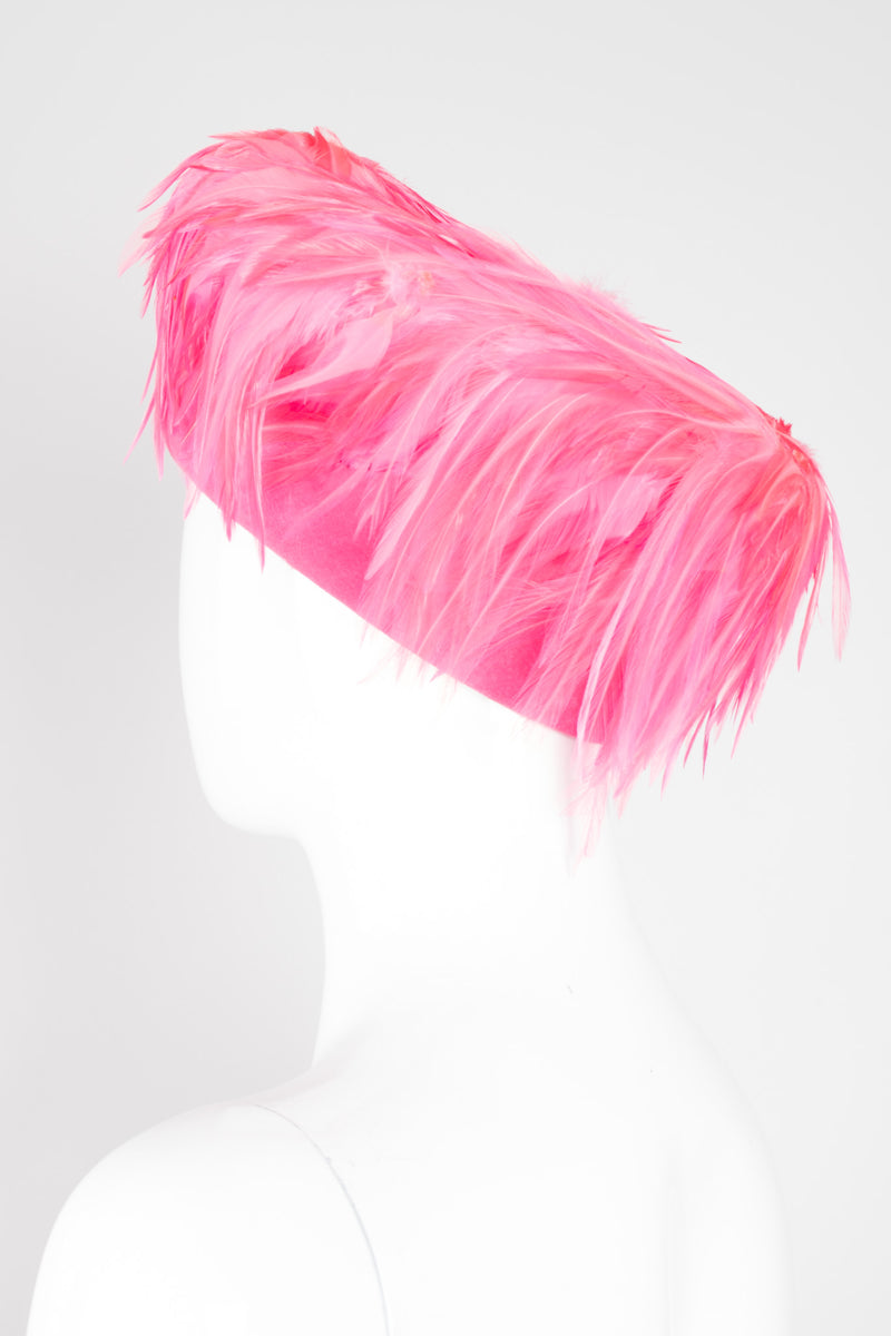 Leslie James Flamingo Pink Velvet Feather Shacko Pillbox Hat